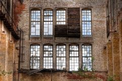 Old window in a deserted hall Royalty Free Stock Image