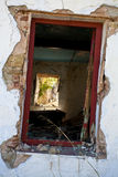 Old window in destroyed house Stock Photos