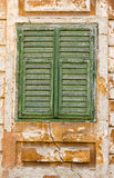 Old window detail. Green detailed old window frame Royalty Free Stock Image
