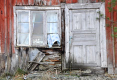 Old window and door. This is a picture of the window and door of an old swedish house from end of the 19th century Stock Photography