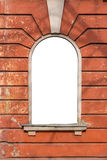 Old window empty frame on the wall. Old window frame on the wall with cracks Royalty Free Stock Image