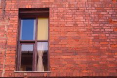 Old Window with firebrick wall royalty free stock photos