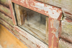 Old window frame. Detail of old window frame made from wood stock photo