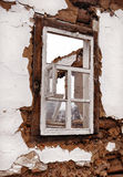 Old window frame in the wall Royalty Free Stock Photography