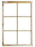 Old window frame. Old windor frame, six square glazing, isolated image Stock Image