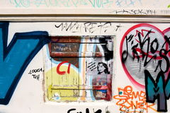 Old window with graffiti in Athens, Greece Royalty Free Stock Image