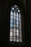 Old window inside the gothic church of Saint Barbara in Kutna Ho Royalty Free Stock Images