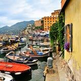 Old window in Mediterranean sea port Camogli Royalty Free Stock Photos