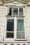Old window in old wooden house Stock Photo