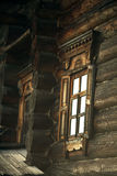 Old Window of an old wooden house with a thread Stock Photography
