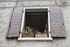 Old window with open shutters with flowers on the window sill on the stone wall. Italian Village Royalty Free Stock Photos