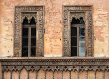 Old window in palace on Piazza Sordello The historic city center of Mantova Lombardy Royalty Free Stock Photography