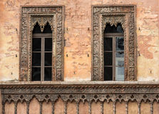 Old window in palace on Piazza Sordello The historic city center of Mantova Lombardy Royalty Free Stock Image