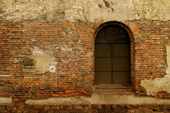 Old window on red brick wall Royalty Free Stock Photos