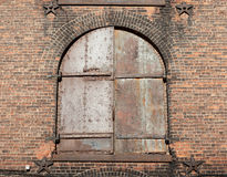 The old window with red brick wall Stock Photo