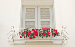 Old window with red roses. Royalty Free Stock Images