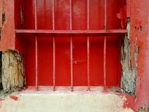 Old window. Red old window with old wood and steel Royalty Free Stock Images