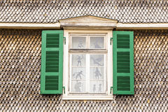 Old window with shindle wall. Pattern of old window with shindle wall Royalty Free Stock Photo