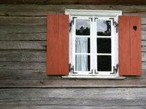 Old window with shutters. Old window with red shutters Stock Photos