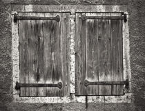 Old window shutters. A black and white photo Stock Photos