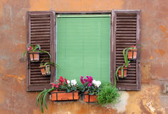 Old window with shutters in Rome, Italy Stock Images
