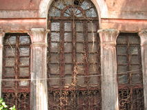old window with terra-cotta tiled roof. An architectural details from Goa, India. stock images