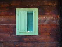 Old window on the traditional Serbian tree house, Mokra Gora, Drvengrad. Old window on the traditional Serbian tree house, Mokra Gora near Mecavnik or Drvengrad stock photo