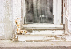 Old window, transience. Old window with curtain, transience Royalty Free Stock Photography