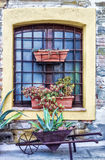 Old window in tuscany, Italy. Detail of a building typical of the Tuscan countryside, Italy Royalty Free Stock Photos
