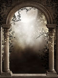 Old window with vines. Old gothic window with dark vines Royalty Free Stock Images