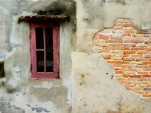 The old window. And old wall Stock Photography