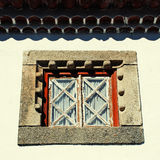Old window in white rural house, Portugal. Stock Image
