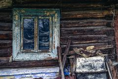 Old window in wooden cottage. Slovakia royalty free stock images