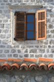 Old window with wooden shutters close up vertical Stock Photography