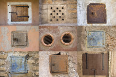 Old windows. Nine old similar windows in walls Royalty Free Stock Images