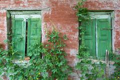 Old windows in abandoned house Stock Images