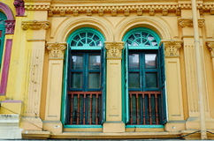Old windows at ancient house in Georgetown, Malaysia Stock Photo