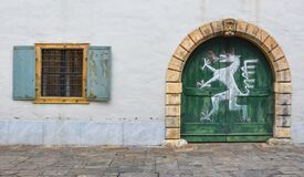 Free Old Windows And Door Of The Styrian Armoury Landeszeughaus, In The City Center Of Of Graz, Royalty Free Stock Image - 184888996