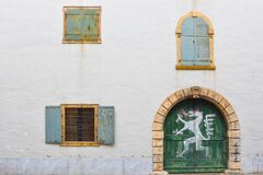 Free Old Windows And Door Of The Styrian Armoury Landeszeughaus, In The City Center Of Of Graz, Stock Photography - 184889092