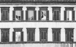 Old windows black and white stock images