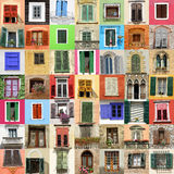 Old windows collage Stock Image