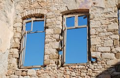 Old windows on Halki Stock Photo