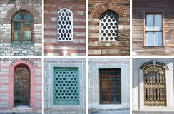 Windows collage. The old windows in Istanbul Stock Image