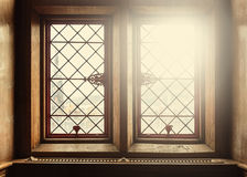 Old windows with lens flare Stock Image