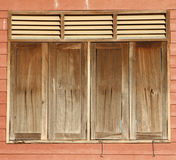 Old windows. The Old windows is mix by wood and shera board Stock Photo