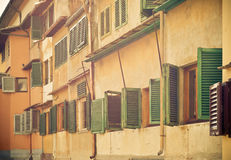 Old windows near Ponte Vecchio, Florence Royalty Free Stock Photos