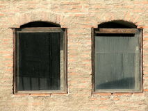 Old windows in the Old Court of Bucharest. Romania Stock Images
