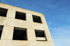 Old windows on ruin house. Stock image Royalty Free Stock Photo