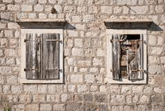 Old windows. Old wooden windows in Perast, Montenegro Royalty Free Stock Photos