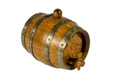 Old wine barrel. Old wooden wine barrel on white background stock photo